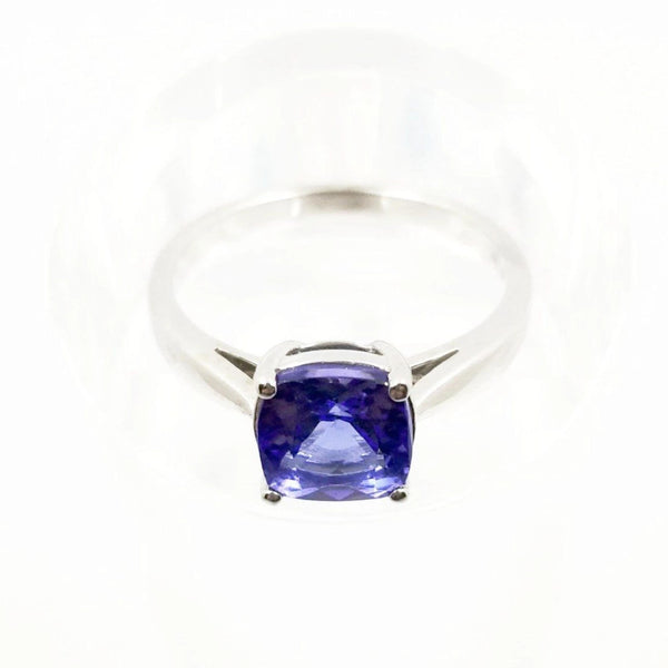 Cushion Cut Tanzanite Stone in a Ring