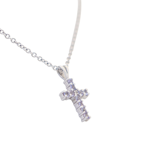 White Gold Tanzanite Cross Pendant