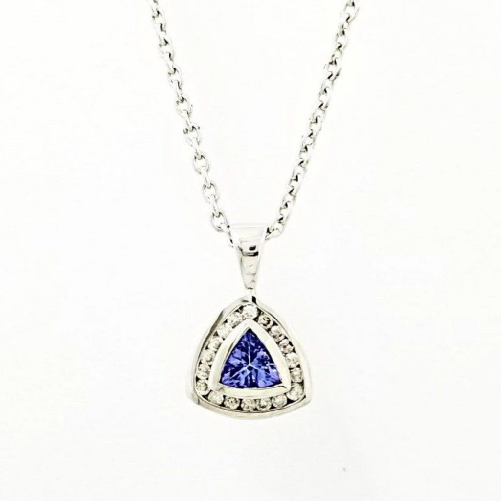Equilateral Triangle Pendant of White Gold with a Tanzanite center stones and Diamonds around