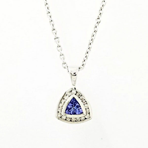 9 kt White Gold Diamond and Tanzanite Equilateral Triangle Pendant - Cape Diamond Exchange