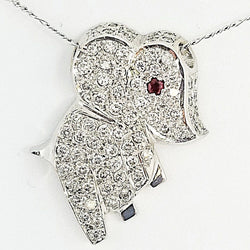 White Gold and Diamond Elephant Pendant - Cape Diamond Exchange