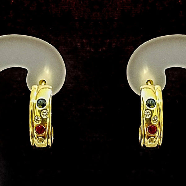 9 kt Yellow Gold half hoop earrings with color stones - Cape Diamond Exchange