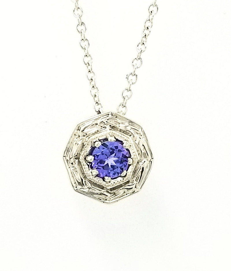 18 kt White Gold Octagon Tanzanite Pendant - Cape Diamond Exchange