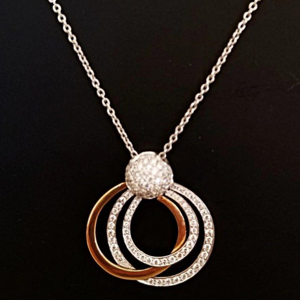Two color Gold, 3 circles Pendant, with Diamonds