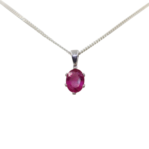 Rubellite Tourmaline set in white gold pendant