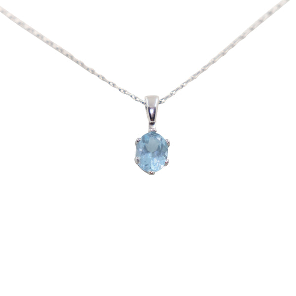 Blue Topaz set in White Gold Pendant- cape diamond exchange