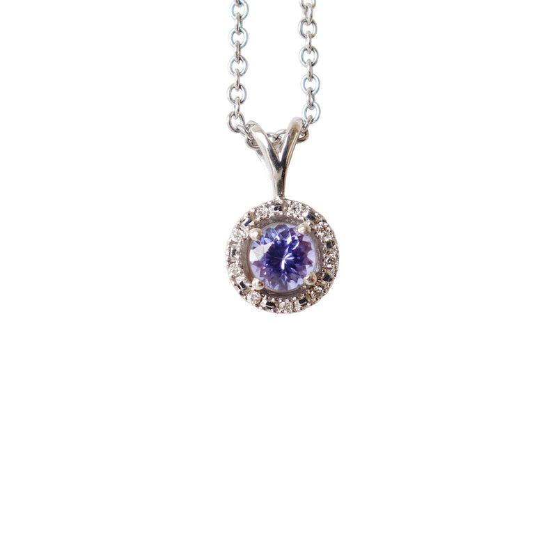 White Gold Tanzanite and Diamond Halo Pendant