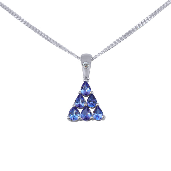 Pyramid Tanzanite Pendant in White Gold
