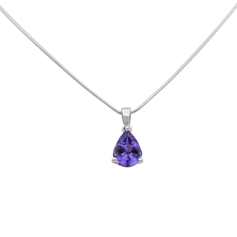 Pear Tanzanite set in 9 kt White Gold