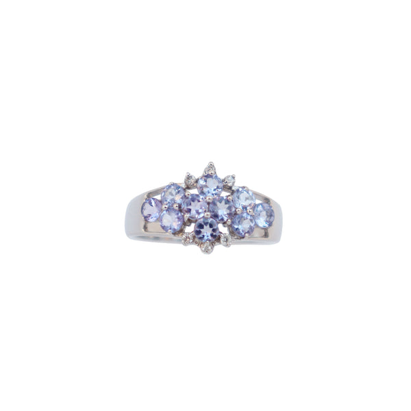9 kt White Gold Tanzanite and Diamond Cluster Ring - Cape Diamond Exchange