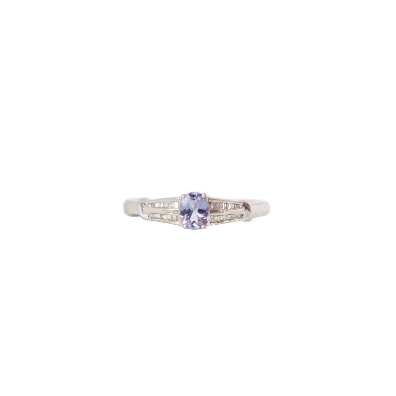 Baguette Diamond and Oval Tanzanite Ring - Cape Diamond Exchange