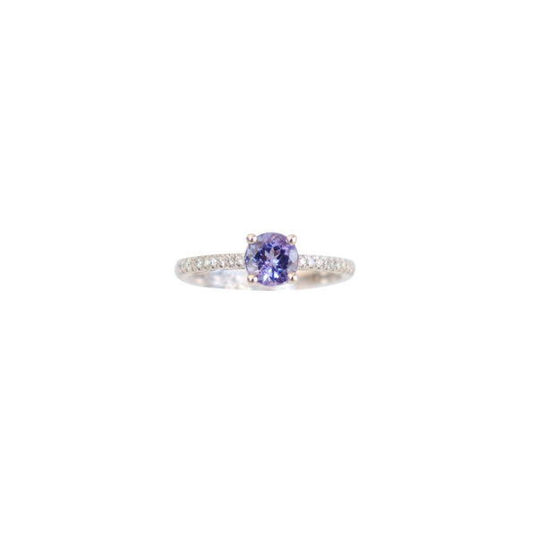 Four Claw Tanzanite and Diamond Ring