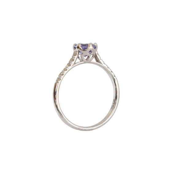 Tanzanite Ring with Diamonds set in a Crown Claw