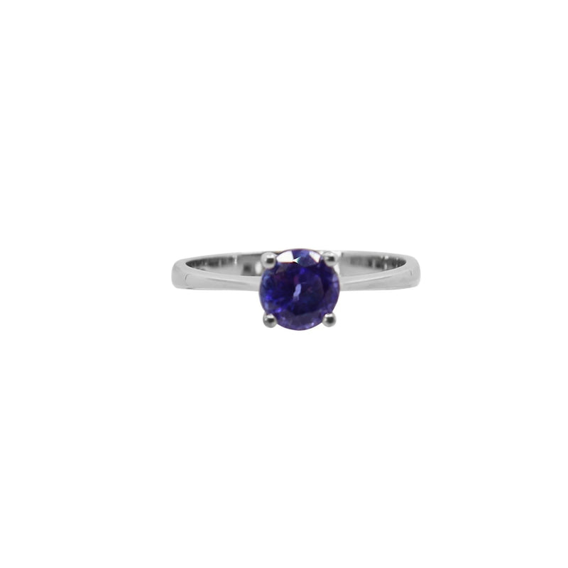 Round Tanzanite Ring set in 9 kt White Gold
