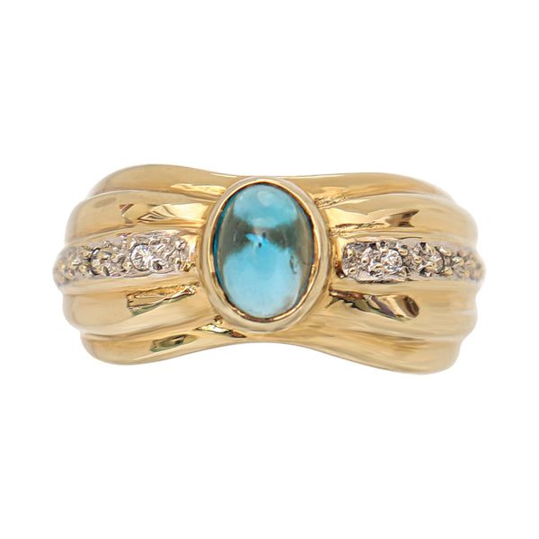 Blue Topaz and Cubic Zirconia Fancy Ring