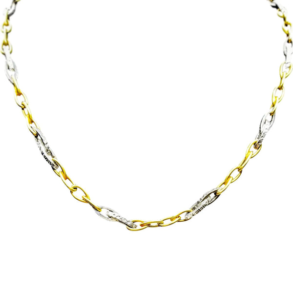 Yellow and White Gold Fancy Link Necklace - Cape Diamond Exchange