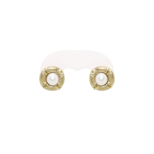 9 kt Yellow Gold Pearl Stud Earrings