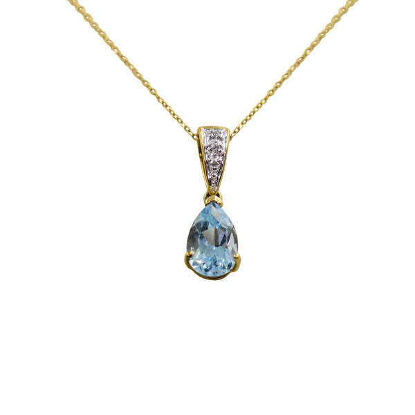 9 kt Yellow Gold Pear Shaped Blue Topaz and Diamond Necklace