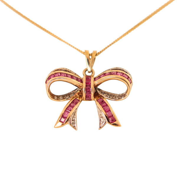 9 kt Yellow Gold Ruby Bow Pendant