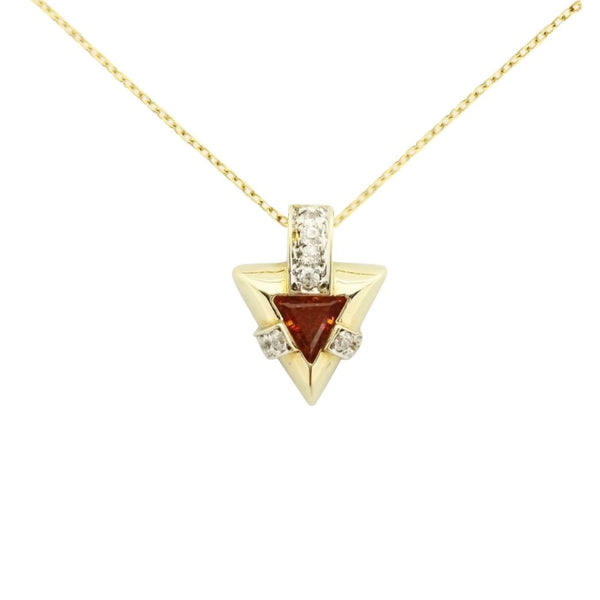Triangle Pendant with Citrine and White Cubic Zirconia - Cape Diamond Exchange