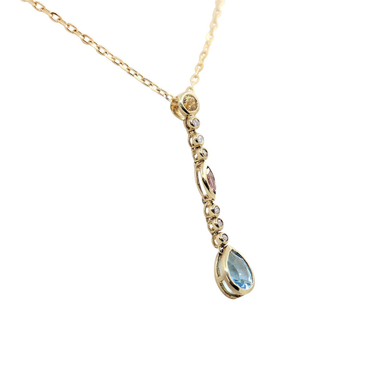 Yellow Gold Blue Topaz; Amethyst; Citrine and Diamonds Drop Pendant