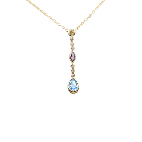 Multicolored Pendant - Blue Topaz, Amethyst and Citrine set in Yellow Gold