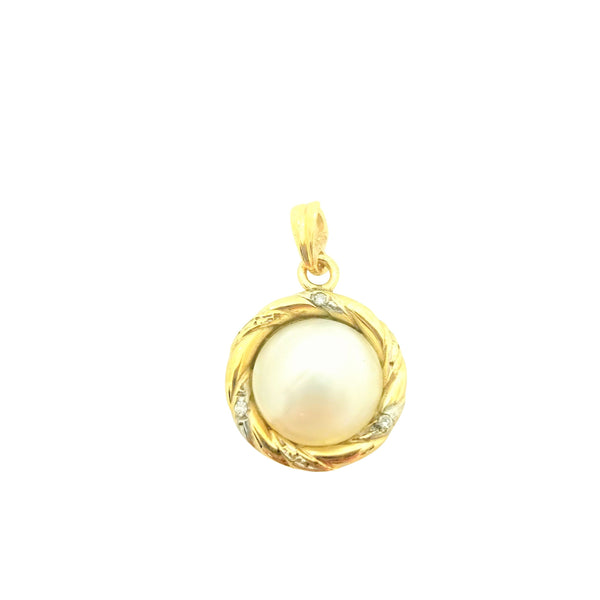 9kt Yellow Gold Mabe Pearl Pendant with Diamonds - Cape Diamond Exchange