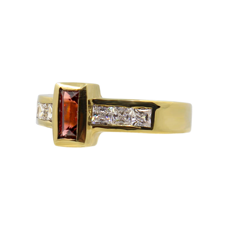 9 kt Yellow Gold Baguette Cut Garnet and Cubic Zirconias