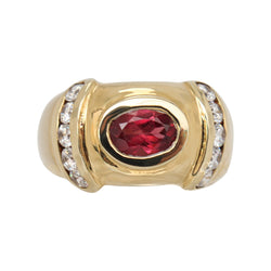 Oval Garnet and Cubic Zirconia Dress Ring