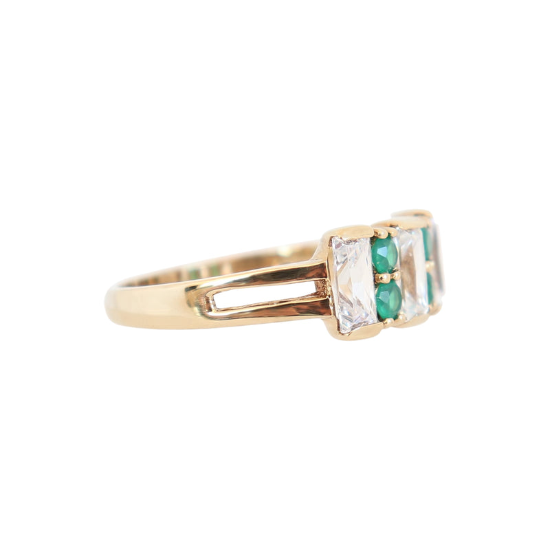 Yellow Gold White and Green Cubic Zirconia Dress Ring