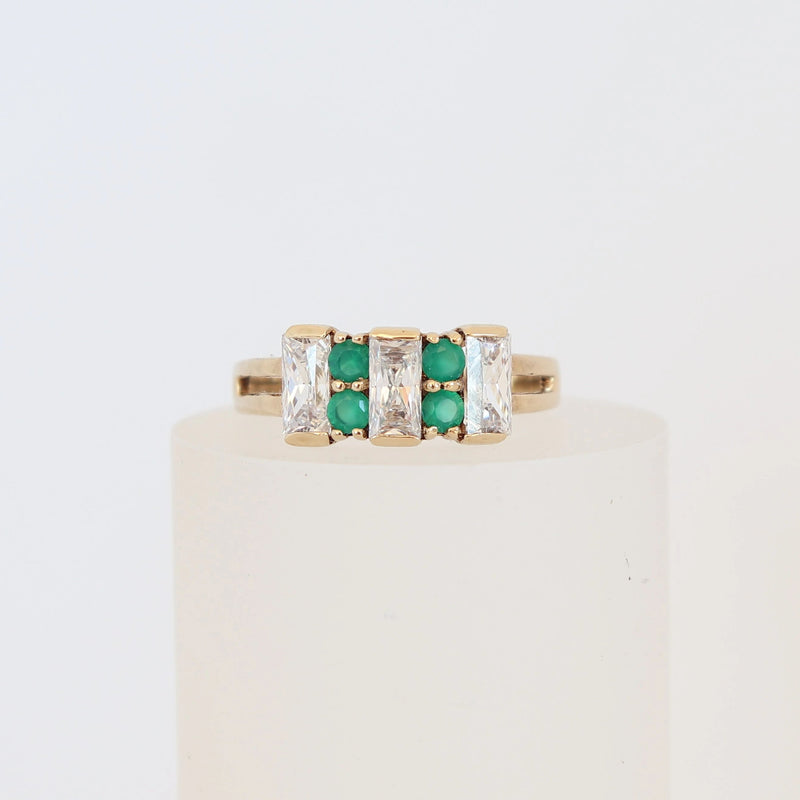9 kt Yellow Gold Emerald and Round Cut Cubic Zirconia Dress Ring