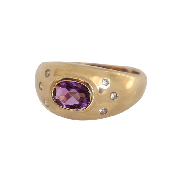 9 kt Yellow Gold Amethyst and White Cubic Zirconia Ring - Cape Diamond Exchange