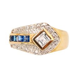 Blue and White Cubic Zirconia Fancy Ring set in Yellow Gold