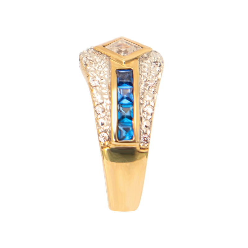 9 kt Yellow Gold Fancy Ring with Cubic Zirconias