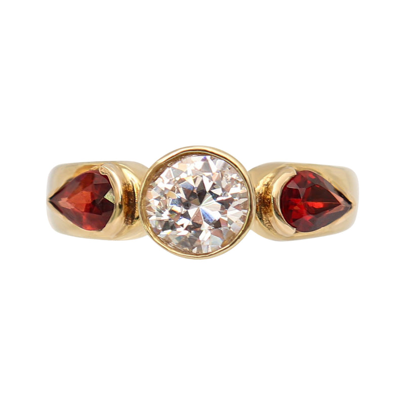 Round Cubic Zirconia with Pear Garnets in Yellow Gold