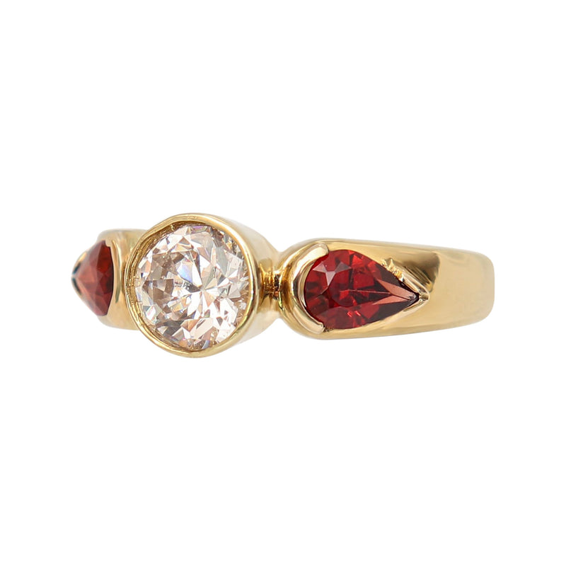 9 kt Yellow Gold Round Cubic Zirconia and Pear Garnet Fancy Ring