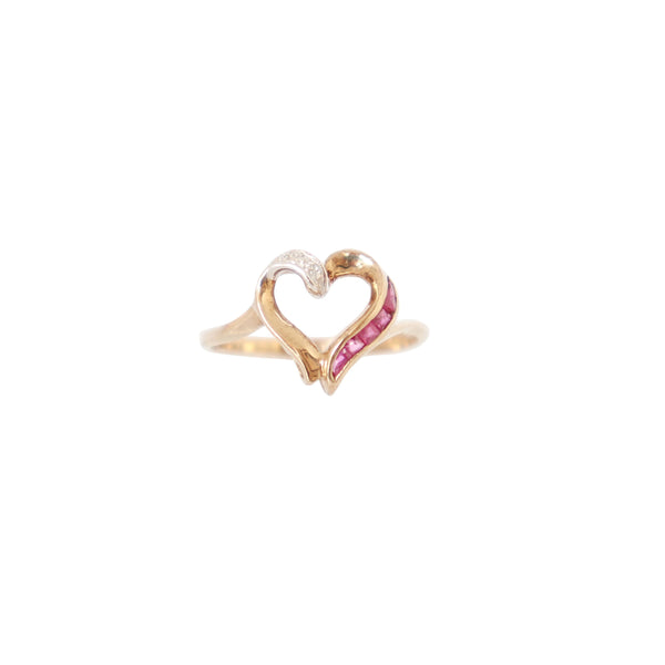 Ruby and Diamonds Heart Shaped Ring