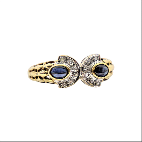 Semi-Circle Yellow Gold Ring with Sapphires and Diamonds