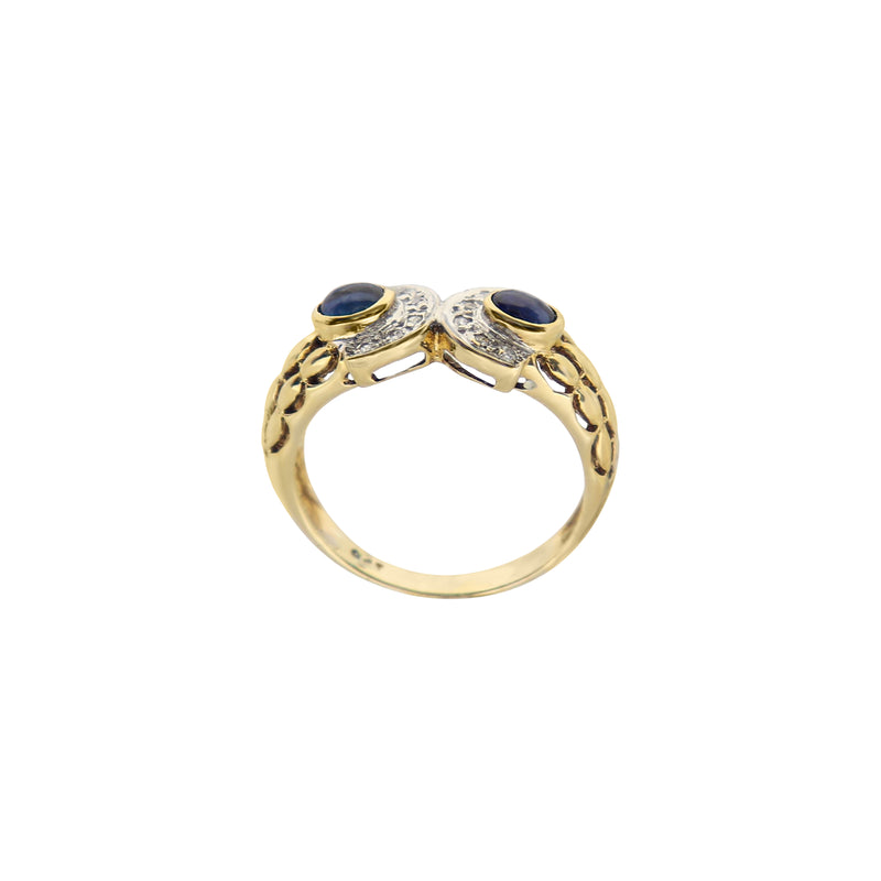 9 kt Yellow Gold Sapphire and Semi-Circle Diamond Ring