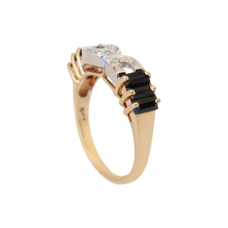 Diamond and Onyx ring set in Yellow Gold