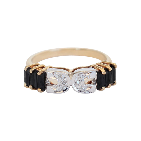 Yellow Gold Black Onyx and Diamond Fancy Ring