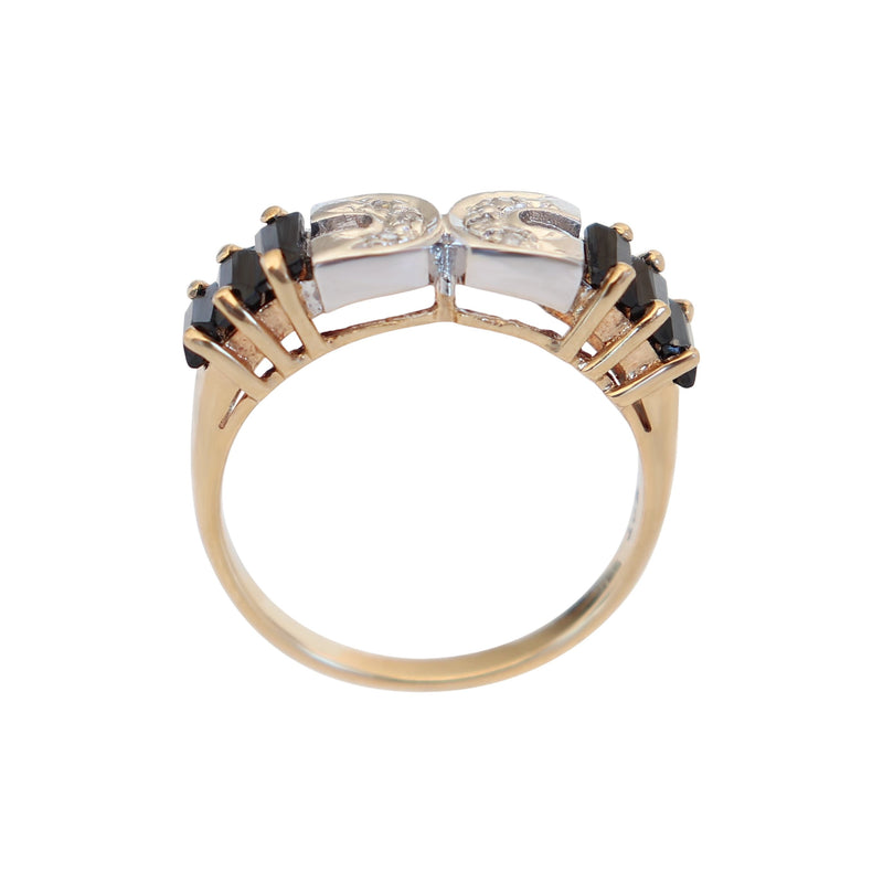 Black Onyx and Diamond Fancy Ring set in 9 kt Yellow Gold