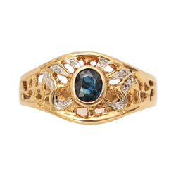 Blue Sapphire and Diamond Filigree Ring
