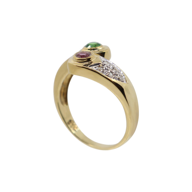 Yellow Gold and Diamond Ring with Green Tsavorite and Pink Sapphire