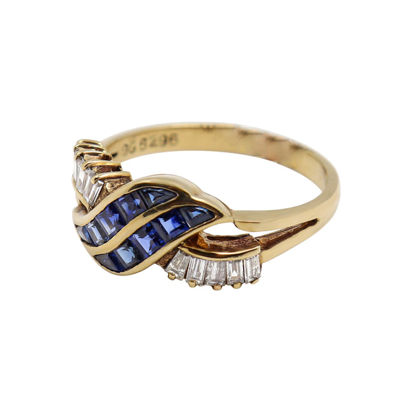 Baguette cut Diamonds and Princess Cut Sapphires set in Yellow Gold