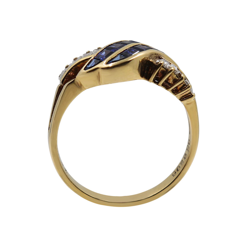 Blue Sapphire and Diamond Ring set 9 kt Yellow Gold