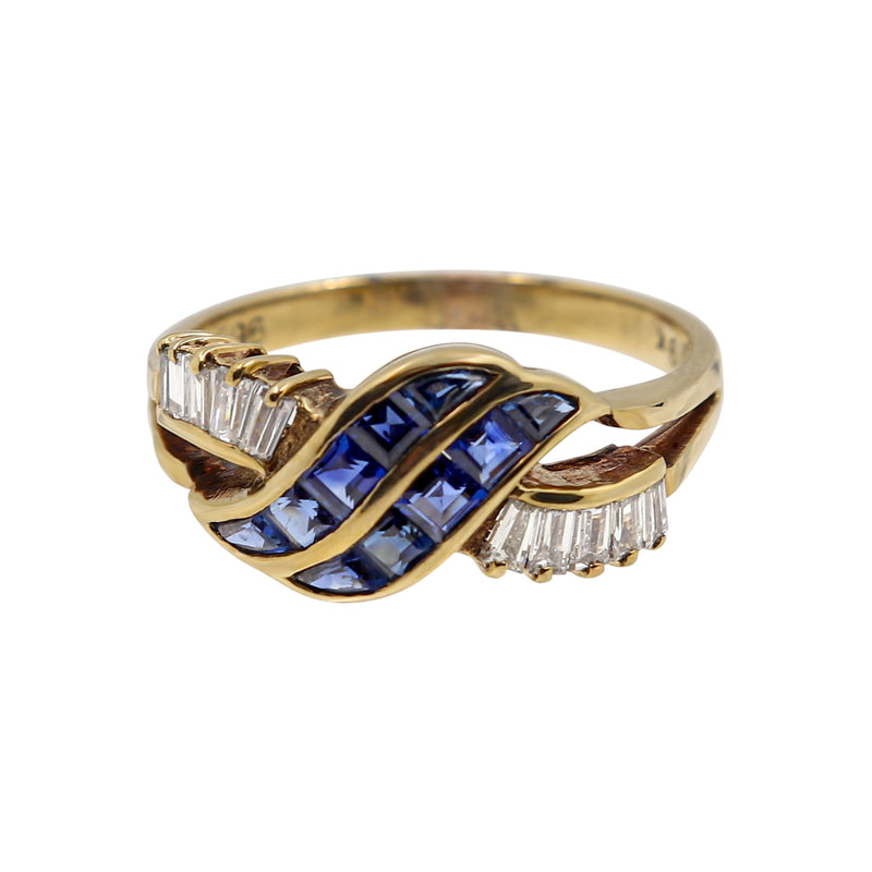 9 kt Yellow Gold Blue Sapphires and Baguette Diamonds