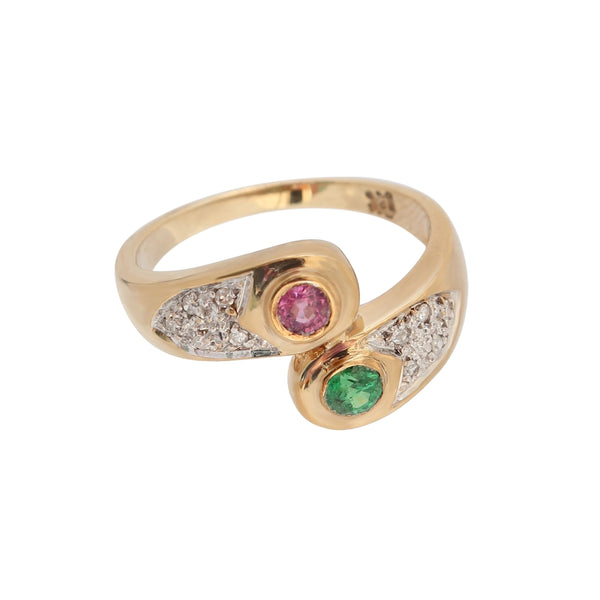 Pink Sapphire and Green Tsavorite with Diamond Ring set in Yellow Gold