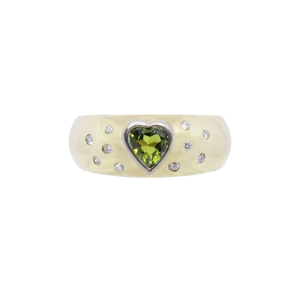 Green Tourmaline Heart with Diamonds Gold Ring