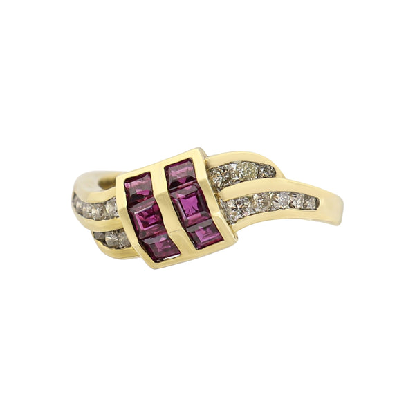 Yellow Gold Ruby and Diamond Swirl Buckle Ring